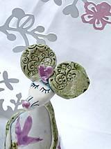 Dekorácie - figúrka - myš ružová s tulipánom - 7512686_
