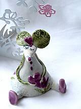 Dekorácie - figúrka - myš ružová s tulipánom - 7512687_
