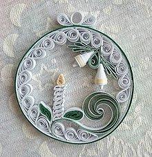 Dekorácie - Vianočná okrúhla dekorácia so sviečkou - 7511641_