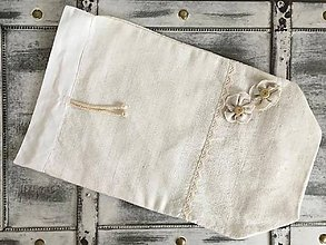 Úžitkový textil - Podšité vrecúško 3v1 z ručne tkaného ľanu 35x22cm - 7512087_