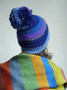 Čiapky - modrá čapica s brmbolcom - 7515725_