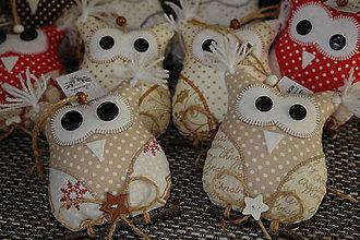 Dekorácie - Vianočná malá sova - 7516540_