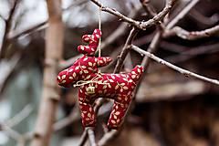Dekorácie - Vianočný sobík červený - 7519276_