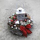 Dekorácie - Vianočná dekorácia, venček, aranžmá s lucernou - 7518654_