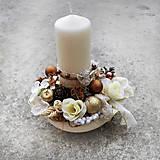 Dekorácie - Vianočná dekorácia, aranžmá, ikebana, hnedo-krémová  - 7520953_