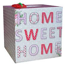Krabičky - ZÁSOBNÍK NA VRECKOVKY kocka (HOME SWEET HOME) - 7519367_