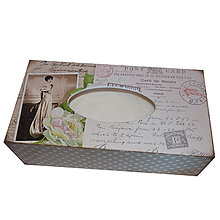 Krabičky - ZÁSOBNÍK/ BOX NA VRECKOVKY obdĺžnik (RETRO 1) - 7519475_