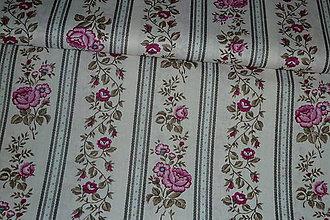 Textil - Látka Ružičky v šedých pruhoch - 7519860_