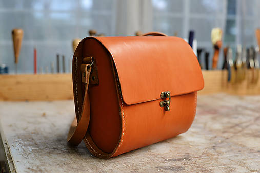 kabelka kožená RONDIE, tmavý oranž, S