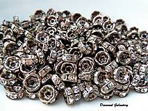 Korálky - Rondelka so štrasom 8 mm - Šedá - 7520134_