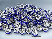 Korálky - Rondelka so štrasom 8 mm - modrá - 7520138_