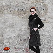 Šaty - khaki manšestrová šatovka v prodloužené verzi - 36,38,40 - 7518864_