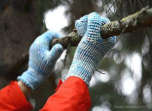Rukavice - BLUE TOUCH - Pletené vlnené merino palčiaky rukavice - 7519709_