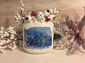 Svietidlá a sviečky - Svietnik / vázička Zimná krajinka - 7520324_