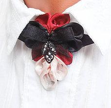 Náhrdelníky - Elegancia a la Chanel - bordová s mašľou - 7519599_