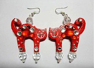 Náušnice - Náušničky mačičky-červené :) - 7520366_