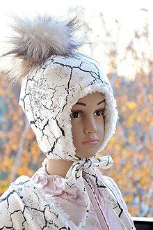Detské čiapky - Zimná čiapka cracked earth & fleece cream - 7518723_