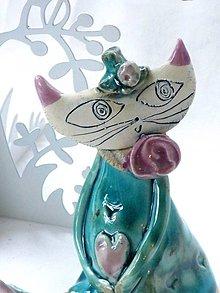 Dekorácie - mačka figúrka tyrkysova - 7518956_