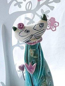 Dekorácie - mačka figúrka stojaca tyrkysova - 7519156_