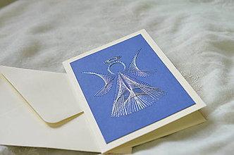 Papiernictvo - Vyšívaná pohľadnica - Anjelik - 7517719_