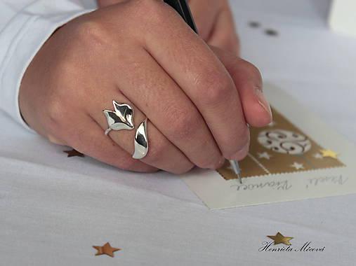 Prstene - strieborný nastaviteľný prsteň - líška - 7519251_