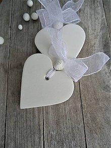 Darčeky pre svadobčanov - Srdiečko biele jednoduché - 7522841_