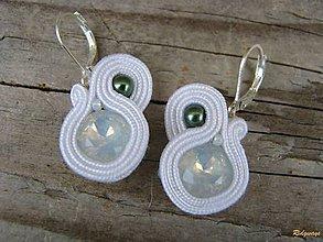 Náušnice - White opal/White...soutache - 7523159_