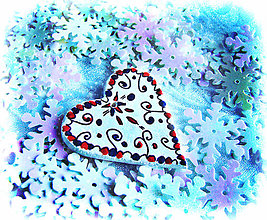 Dekorácie - Ľudové vianoce - srdce - 7522561_