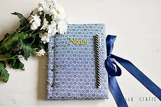 Papiernictvo - Hladkací zápisník - Modrotlač na notese  - 7524263_