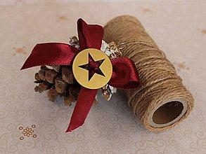 Dekorácie - vianočné ozdoby_ šišky bordové - 7523267_