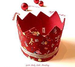Hračky - Vianočná korunka červeno-zlatá - 7522516_