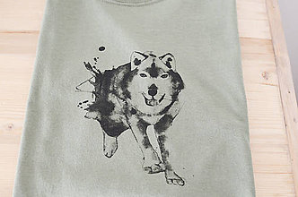 Oblečenie - Vlk, olivovo zelená, L - 7522176_
