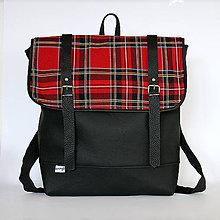 Batohy - Aktovkový batoh (čierno červený károvaný) - 7521496_