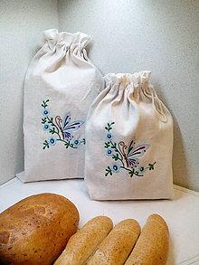 Úžitkový textil - Ľanové vrecúška na chlieb, pečivo - sada 2 ks - 7524372_