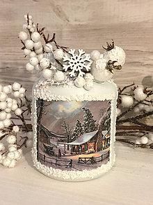 Svietidlá a sviečky - Svietnik / vázička Zimná krajinka - 7524382_