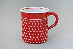 Nádoby - Hrnek rovný puntík 10 červený 0,4 l - 7522881_