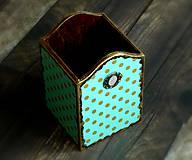Tyrkysovo zlatá bodka - krabička na perá