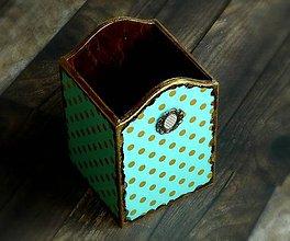 Krabičky - Tyrkysovo zlatá bodka - krabička na perá - 7523029_