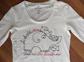 Tričká - Originálne maľované tričko pre skvelú mamku (Čiernočervené) - 7522527_