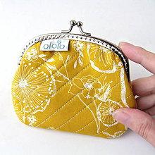 Peňaženky - Peňaženka Žltožltá kvetovaná - 7524386_