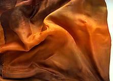 """Šatky - """"OHEŇ"""" oranžovo-hnedý hodvábny šál/šatka 140x140cm (pléd) skladom:-) - 7526027_"""