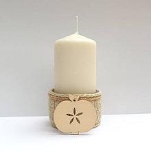 Svietidlá a sviečky - Svietnik pletený s dreveným jabĺčkom - 7527608_