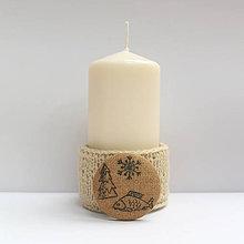 Svietidlá a sviečky - Svietnik Tri vianočné želania (stromček, kapor a sneh) - 7527620_