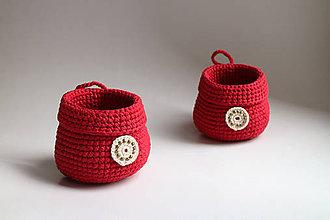 Košíky - Košík - červený na zavesenie | béžová dekorácia - 7526696_