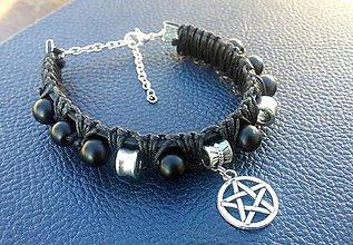 Náramky - Čierny náramok - Pentagram - 7526860_