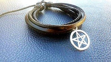 Náramky - Viacvrstvový náramok - Pentagram - 7527085_