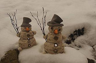 Svietidlá a sviečky - snehuliak-svietnik - 7527742_
