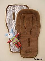 Textil - Ovčie rúno podložka do športového kočíka 100% merino LUX CAMEL Hviezdička béžová - 7529555_