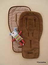 Textil - Ovčie rúno podložka do športového kočíka 100% merino LUX CAMEL Hviezdička béžová - 7529620_