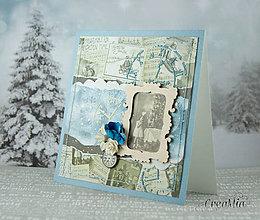 Papiernictvo - Vianočná pohľadnica vintage modro-béžová s viktoriánskymi vianočnými portrétmi - 7529466_